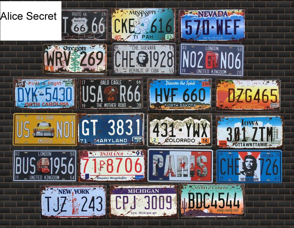 Hot American Car Number USA License Metal Plates Garage Plaque Metal Tin Sign Bar Decoration Vintage Home Decor 15x30cm