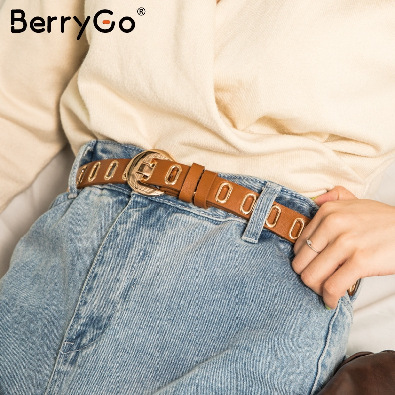 BerryGo Solid Color Skinny Leather Women Belt Fashion Pants Sweater Waistband Cummerbund Casual Metal Leather Female Long Belt