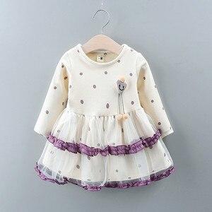 Осенне-зимние модные вечерние платья принцессы с длинными рукавами и бантом в горошек для маленьких девочек vestido bebe Z4