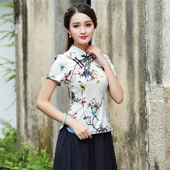 Chinese Traditional Cheongsam Top Shirts for Women Plus Size 4XL Qipao Floral Print Blouse Asian Style Ancient Elegant Costumes tanie i dobre opinie COTTON Pościel Suknem