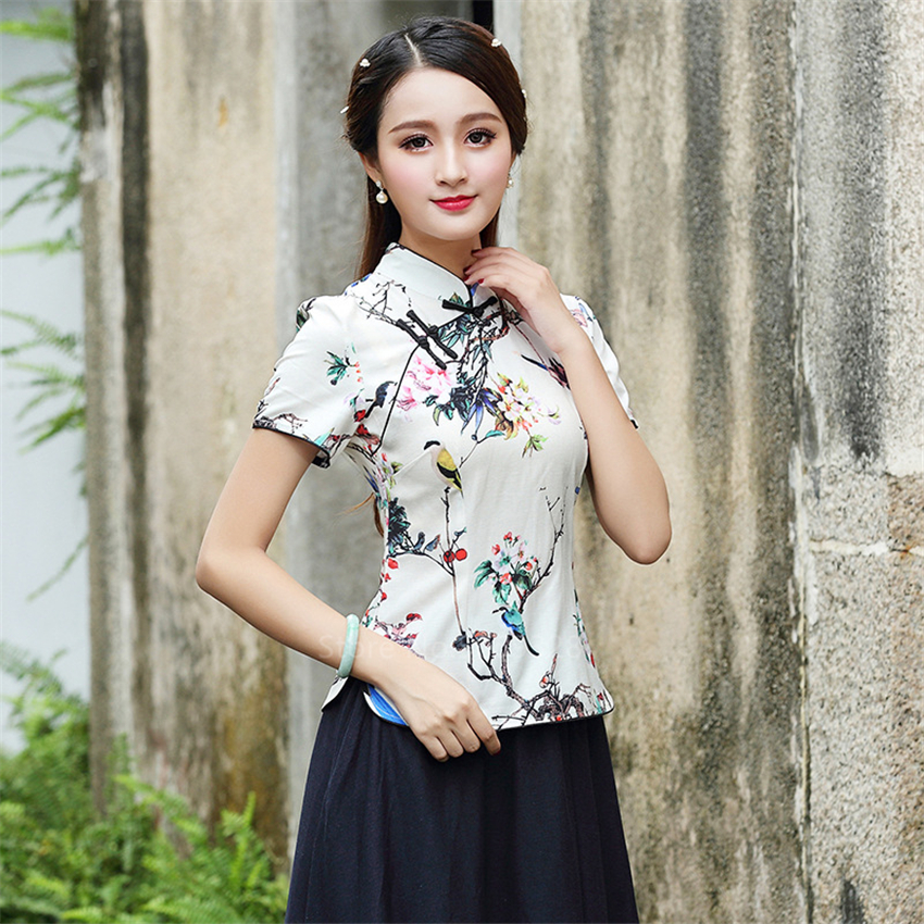 Chinese Traditional Cheongsam Top Shirts For Women Plus Size 4XL Qipao Floral Print Blouse Asian Style Ancient Elegant Costumes