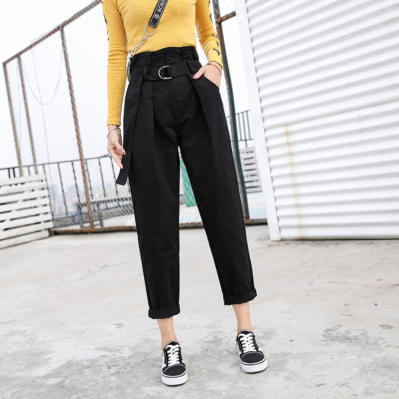 Large Size Dress 2019 Spring New Style Korean-style Capri High-waisted Students Radish Straight-Cut Bud Pants Fashion
