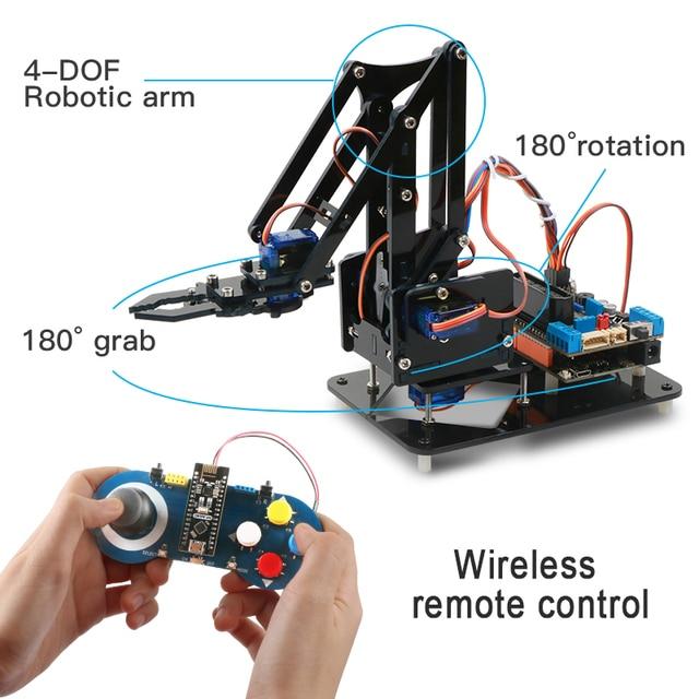4DOF robot diy zestaw ramienia robotyka edukacyjna pazur zestaw mechaniczne ramię dla Arduino R3, PS2/2.4G sterowanie bezprzewodowe, programowanie Scracth
