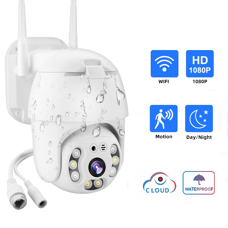 IP Camera 1080P HD PTZ Outdoor Speed Dome Wireless Wifi Camera Pan Tilt Security Camera 4X Zoom Auto Track Cruise