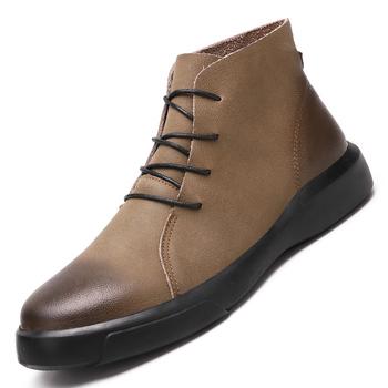 Modne męskie buty wysokiej jakości skórzane kostki zimowe buty ciepłe futrzane pluszowe sznurowane zimowe buty modne trampki duże rozmiary 47 tanie i dobre opinie CHAXICHEN Podstawowe Skóra Split ANKLE Stałe Krótki pluszowe Skóra licowa Okrągły nosek RUBBER Zima Mieszkanie (≤1cm)