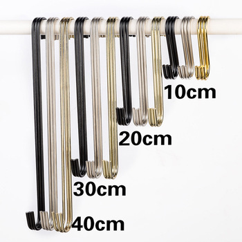 Stainless Steel S Shaped Hooks Kitchen Pot Pan Hanger Clothes Storage Rack Home Coat Hook Multi-Function Sundries Storage Holder cs 12 24 in s hook s hook not include pot