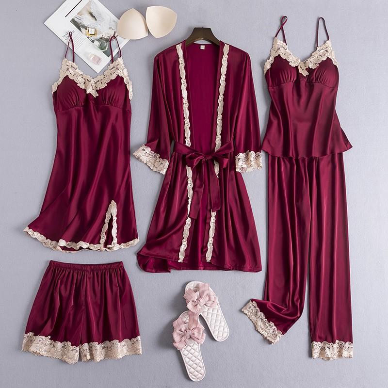 Sexy Female 5PCS Robe Set Satin Rayon Bathrobe Women Kimono Bath Gown Loose Sleepwear Nightwear Bridesmaid Robes Suit Homewear