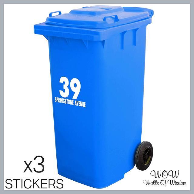 Autocollants de poubelle numéro de maison 3 x | Autocollants personnalisés de maison, numéro de maison, nom de la rue, pour la maison, le bureau, les affaires, faciles à appliquer Signe de porte