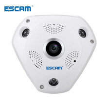 ESCAM Shark QP180 960P IP VR Cámara WiFi red ojo de pez 1,44mm 360 cámaras Wi-Fi vigilancia CCTV Cam soporte(China)