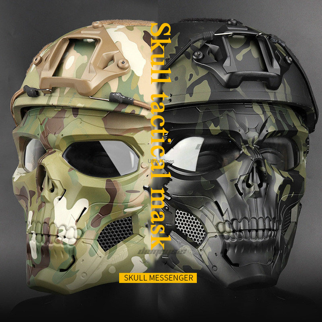 Multicam Tactical Airsoft Skull Mask Paintball Military Combat Full Face Paintball Masks CS Game Face Protective Tactical Mask
