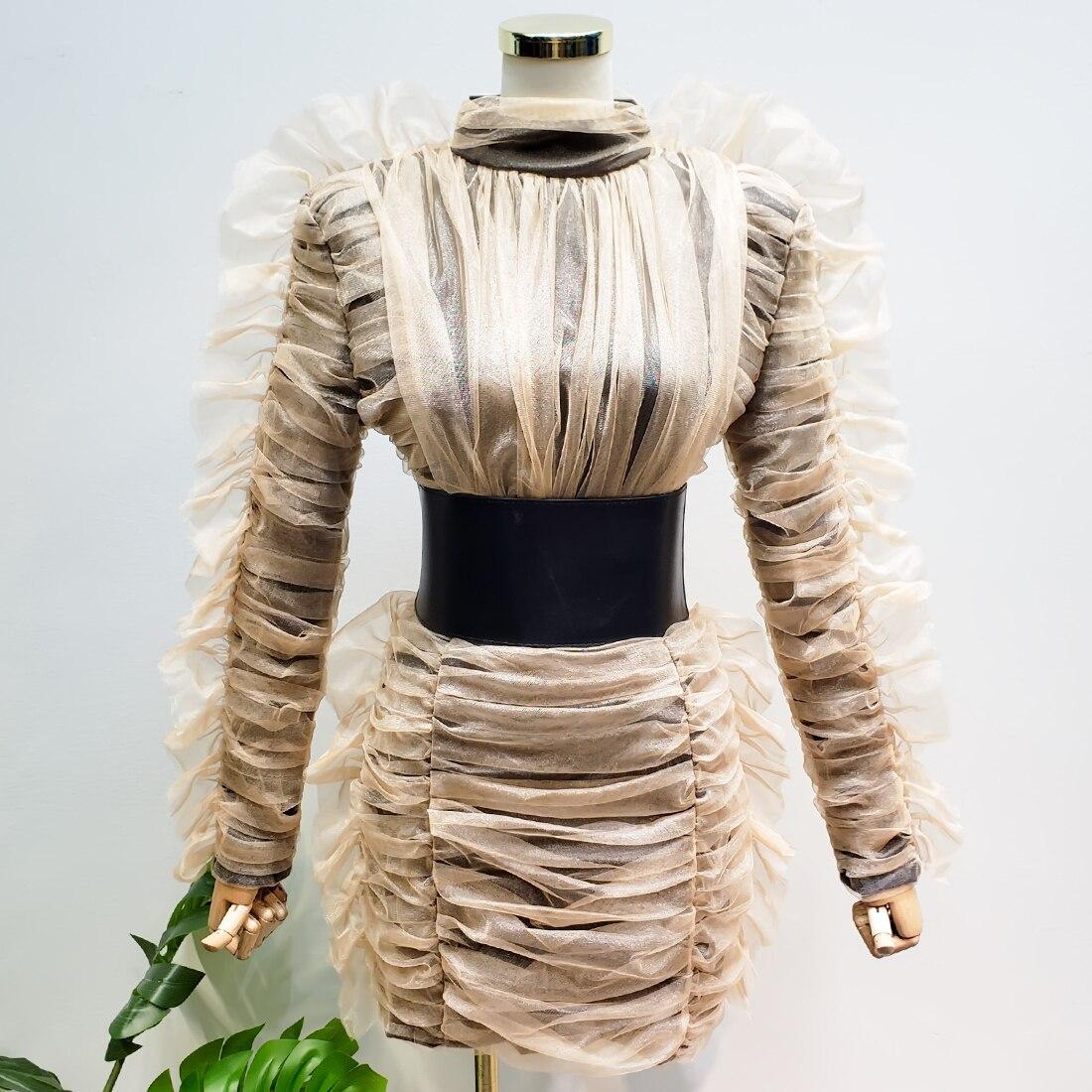 Robe moulante femmes automne et hiver panneau de maille dentelle lourde serré-ajustement à manches longues paquet robe de hanche robes dames Vestidos