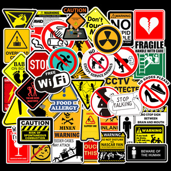 цена на 50pcs Warning Sign Sticker wallpaper Decal Motorcycle Skateboard Fridge Doodle Funny Stickers for Auto Laptop Trunk Toy Sticker