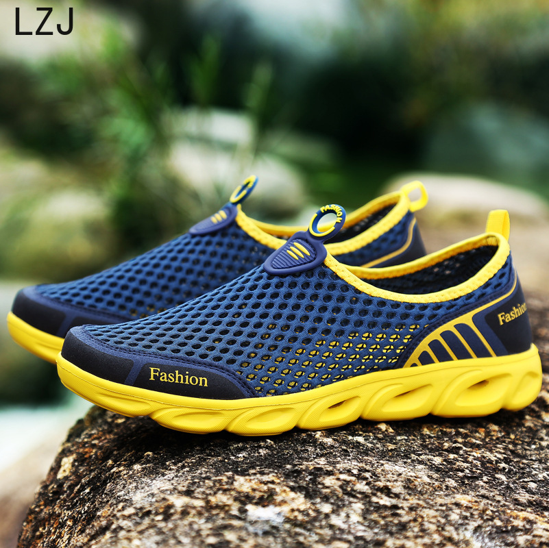 Loafers Sneakers Hole-Shoes Slip-On Ultra-Light Breathable Plus-Size Men Hollow Colorful