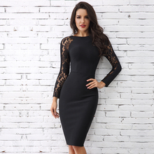 2019 New Winter Woman Black Lace Long Sleeve Elegant Ladies Dresses Vestidos Celebrity Party Night Sexy Bandage Midi Women Dress