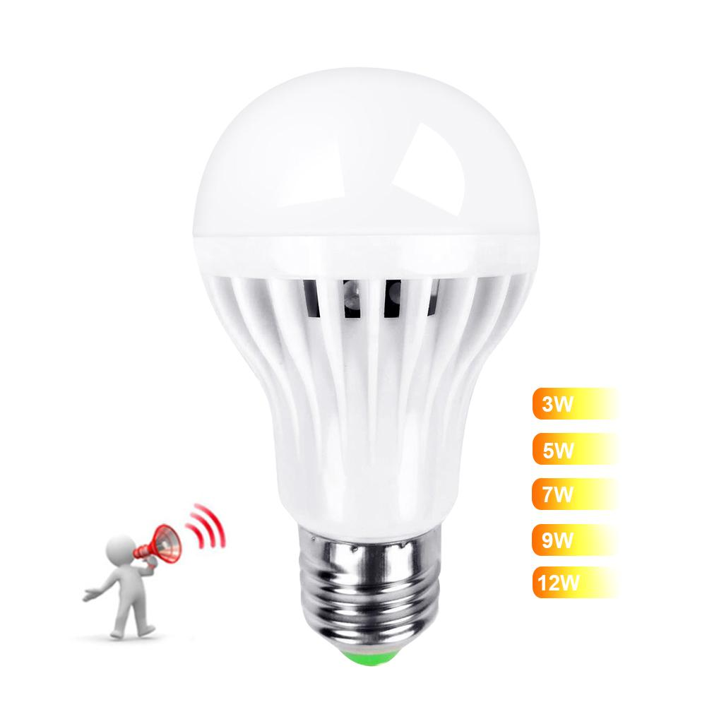 3W 5W 7W 9W LED Bulb Smart Sound Motion Sensor LED Lamp Light Induction Stair Hallway Night Light White 85-265V