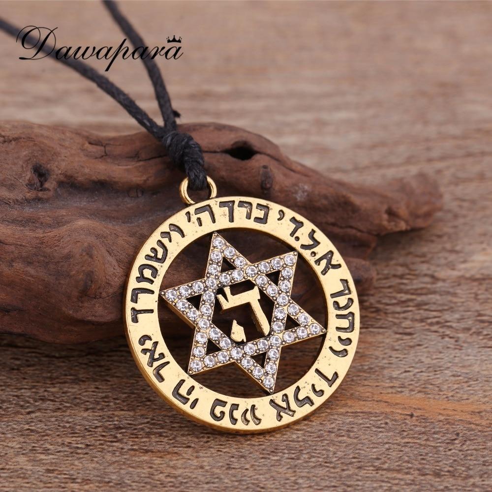 Dawapara Star of David Fashion Necklaces for Women Statement Israel Supernatural Pendants Jewelry Rhinestone Charms