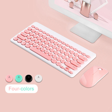 2.4G USB Wireless Gaming Keyboard Mouse Combo Round Button Keyboard Silent Mouse For Macbook Lenovo Dell Asus HP Laptop Computer dell dell km117 wireless mouse