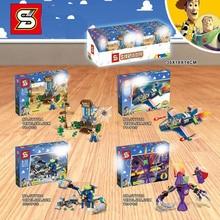 New 4PCS woody Fighter buzz lightyear Cafe alien Zurg Mech Figures building block bricks Kids toys