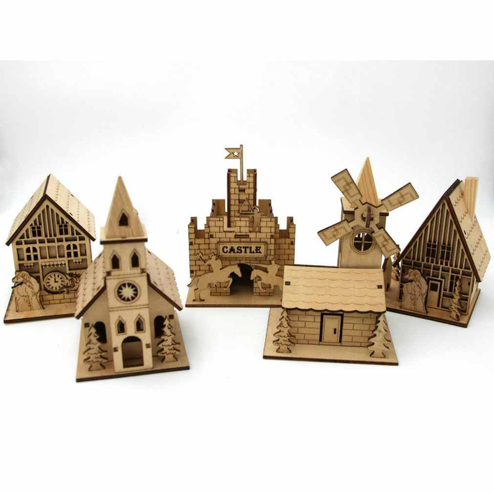 3D drewniana układanka zestaw puzzli Model dom Steeple/komin/zegar ścienny mały domek Model architektoniczny Kid DIY zabawka świąteczna