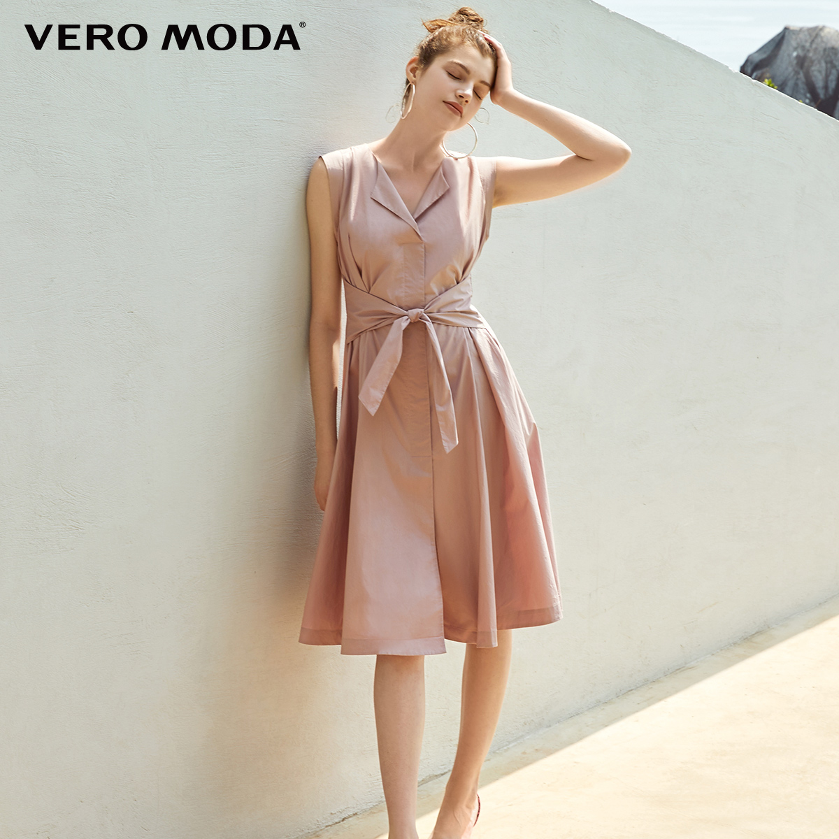 Vero Moda Women's 100% Cotton Lace-up Waist Sleeveless Pure Knee-length Dress | 31927B526
