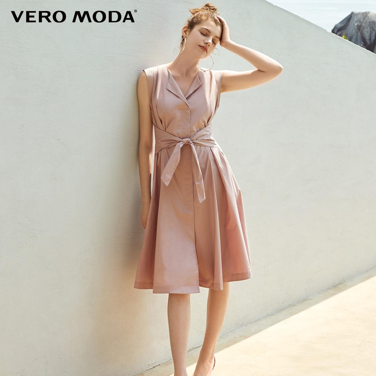 Vero Moda Women's 100% Cotton Lace-up Waist Sleeveless Pure Knee-length Dress | 31927B526