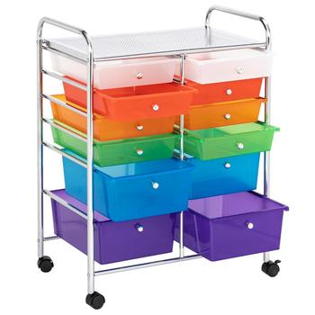 Multi-Color 12 Drawers Rolling Cart Organizer For Home Office School With 4 Wheels