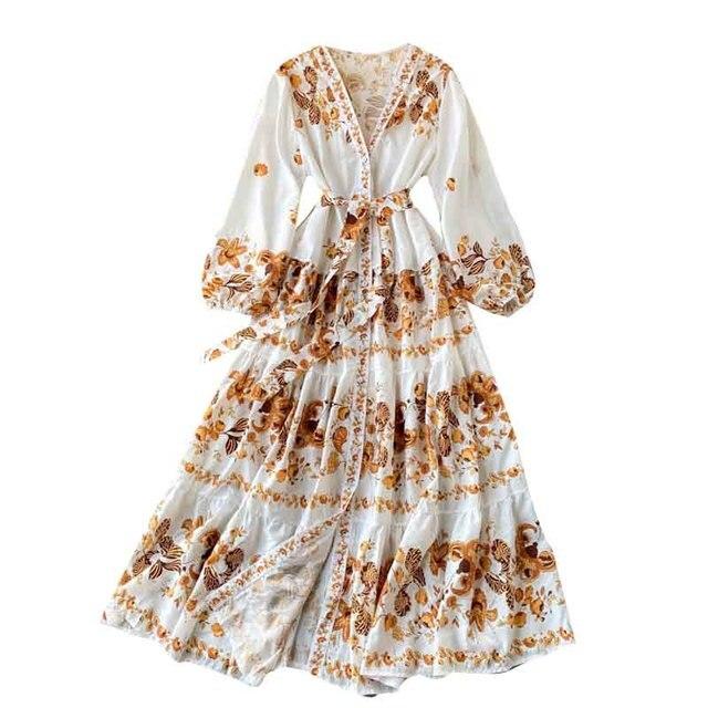 Vintage Print Dress  Elegant V Neck Single Breasted Sashes Tie Up 5