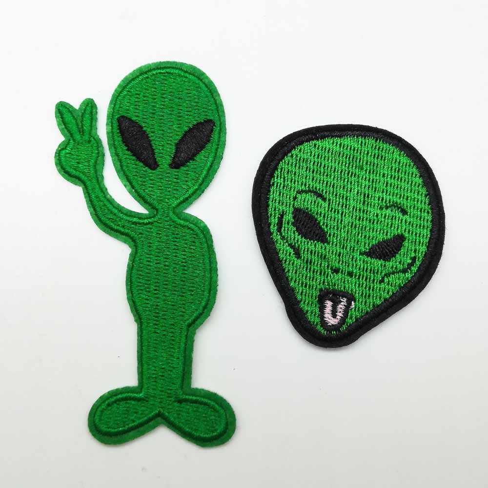 Yaratıcı Punk Demir Yeşil Alien Kafa Demir on Işlemeli Giysi Yama Için Giyim Kız Erkek