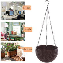 Flower Pot Basket Chain Hanging Planters Hydroponic Plants Balcony Imitation Rattan Weaving PP Plastic Vase Baskets