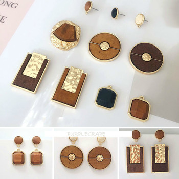 DIY autumn and winter earrings accessories European American retro wood materials ring box pendants Wood Round Earrings