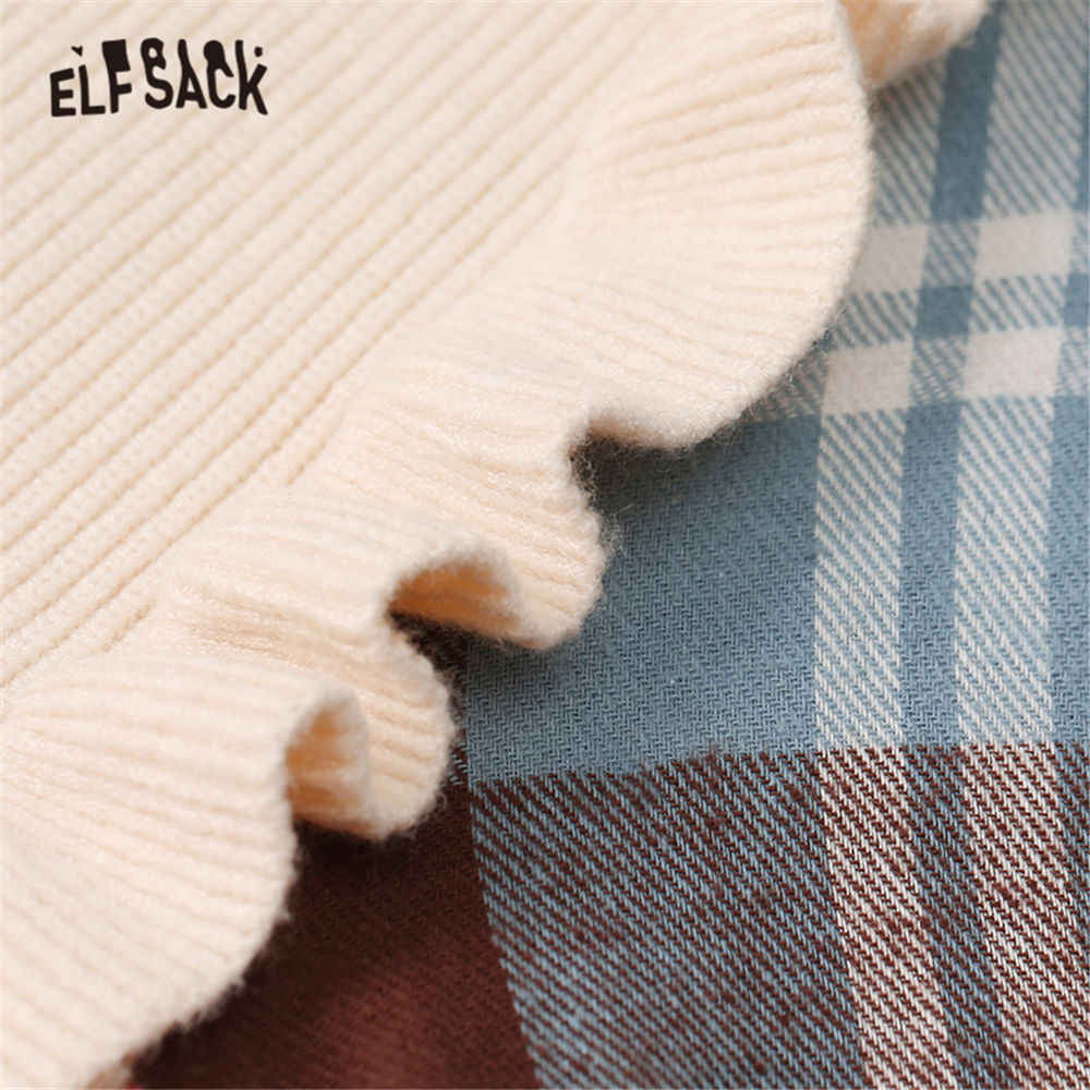 ELFSACK negro Plaid Patchwork coreano suéter de las mujeres de la primavera de 2020 vintage largo Manga mariposa informal señoras tops diarios