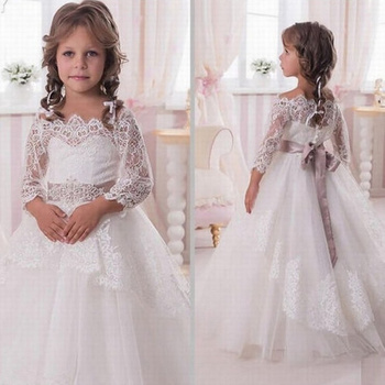 Girl's Pageant Prom Party Princess Gown For Wedding Birthday Lace Flower Girl Dresses First Communion Dresses For Girls