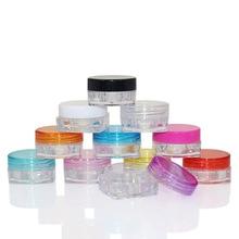 30Pcs 3g 5g Plastic Empty Cosmetic Sample Jar Pot Vials Square Bottom Makeup Container For Face Cream Lip Balm Nail Art Storage