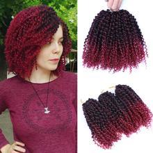 """DAIRESS """" короткие Marlybob крючком плетеные волосы 3 пряди/лот афро кудрявые синтетические Омбре крючком косички наращивание волос"""