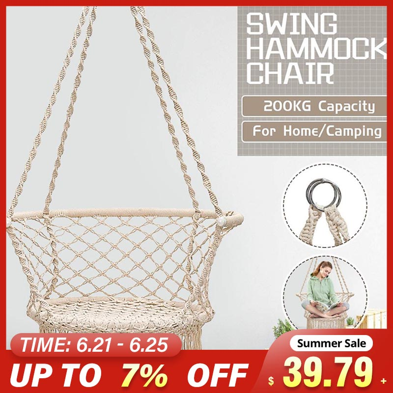 440lbs Nordic Cotton Rope Hammock Chair Handmade Knitted Indoor Outdoor Kids Relax Macrame Swing Seat Adult Hanging Chair Home