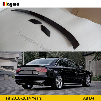 цена на ABT Style Carbon Fiber rear trunk spoiler For AUDI A8 D4 2010 2011 2012 2013 2014 year A8 CF rear wing spoiler (3pcs)