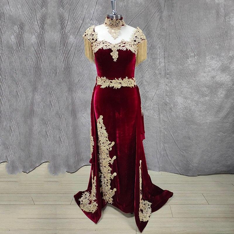 Сказочное марокканское вечернее платье Кафтан со съемным шлейфом, реальное фото, с аппликацией, бархатное платье русалки, бордовое вечерние платье для выпускного вечера|Вечерние платья| | АлиЭкспресс