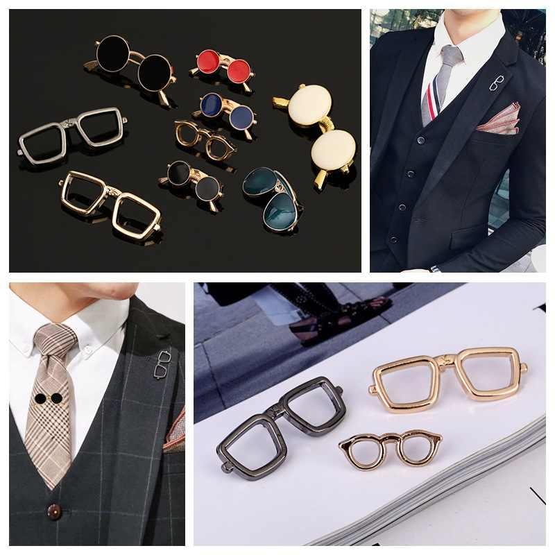 Moda emaye yağ gözlük güneş gözlüğü pimleri ve broşlar erkek takım kıyafet gömlek yaka erkek giyim ve aksesuarları
