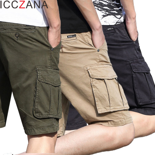 ICCZANA מכנסיים קצרים מטען גברים כותנה אצן מכנסי ברמודה Mens עבודה טקטי מכנסיים Streetwear עבור נסיעות טיולי מחנה מכנסיים קצרים