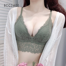 BCCZMISS Sexy Lace Push Up Bralette For Women Summer Thin Beauty Back Lingerie Sets Comfortable Soild Color Female Bra  No Rims