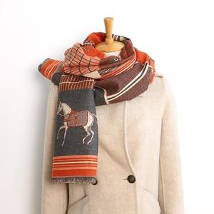 Роскошный брендовый зимний шарф для женщин, теплый кашемировый Пашмина фуляр, женские роскошные конские шарфы, толстые мягкие шали, обертыв...