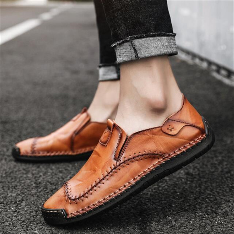 New dress shoes men's business real leather casual shoes fashion beanie foot lazy shoes men loafers sneakers zapatos de hombre