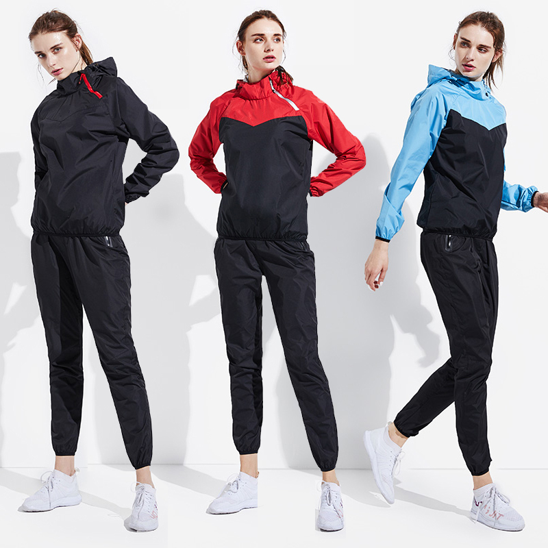 Sauna Suit Women Gym Clothing Set Men Pullover Hoodies Tops Running Fitness Exercise Sportswear Weight Loss Sweating Sports Suit