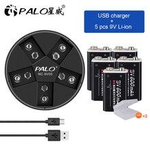 Batteria ricaricabile agli ioni di litio 9v 6f22 batteria 9v con caricabatterie intelligente 9V per batteria ricaricabile al litio 9v 6F22 nimh