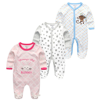 0-12Months Baby Rompers Newborn Girls&Boys 100%Cotton Clothes of Long Sheeve 1/2/3Piece Infant Clothing Pajamas Overalls Cheap - Baby Rompers RFL3121, 12M