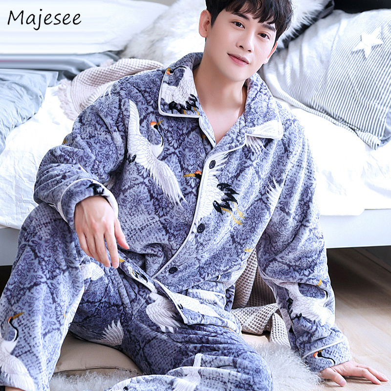 Pajama Sets Men Printed Hot Sale High Quality Mens Pajamas Korean Fashion Plus Size Home Clothes Warm Casual Soft Long Sleeve