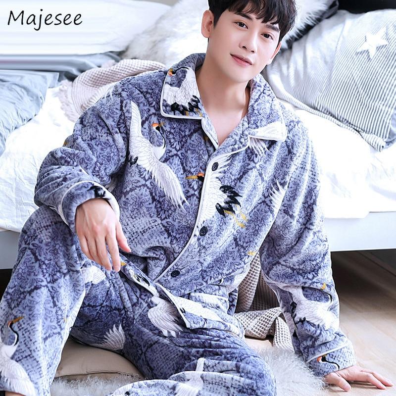Pajama Sets Men Printed Hot Sale High Quality Mens Pajamas Korean Fashion Plus Size Home Clothes Warm Casual Soft Long Sleeve