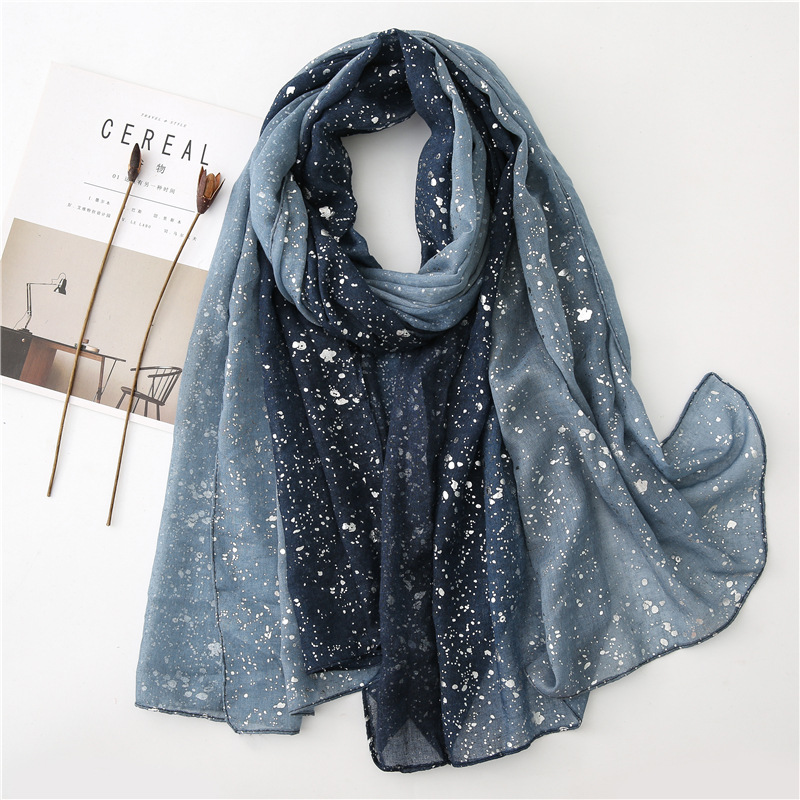 Ladies Fashion Ombre Glitter Shiny Dot Viscose Shawl Scarf Autumn Winter Warm Pashmina Stole Bufanda Muslim Hijab Sjaal 180*90Cm
