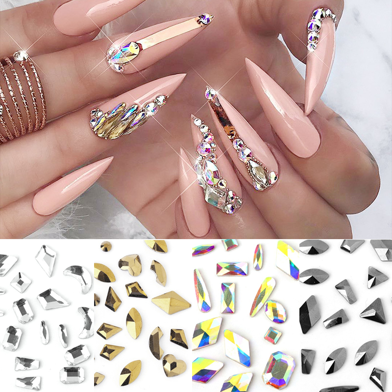100 шт Стразы для дизайна ногтей плоский кристалл ab в форме