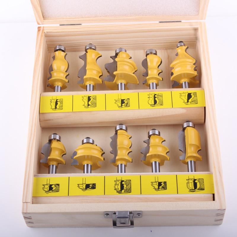 CHWJW 8 мм хвостовик 10 шт. архитектурная Лепка маршрутизатор Набор бит линия нож деревообрабатывающий режущий шип резак для деревообработки и... - 3